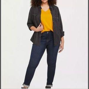 NWT Torrid Yellow Girlfriend Shirt Size 3X
